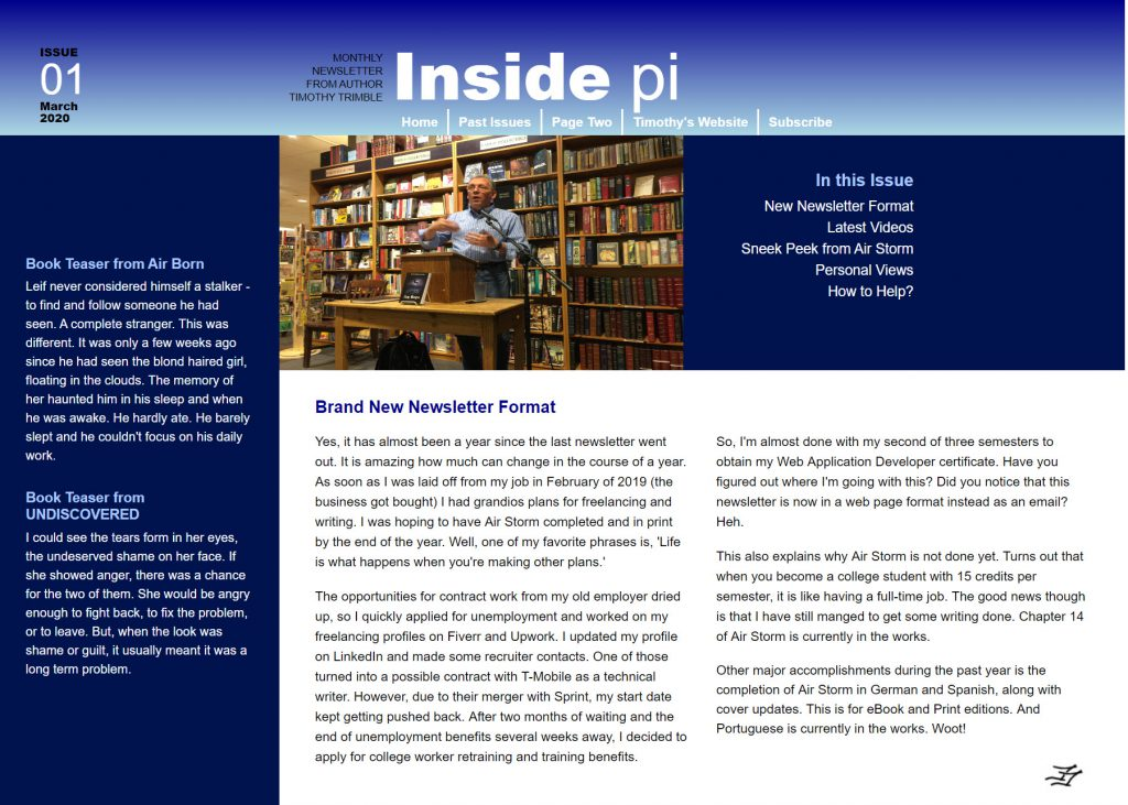 Screenshot of Timothy's Newsletter site.