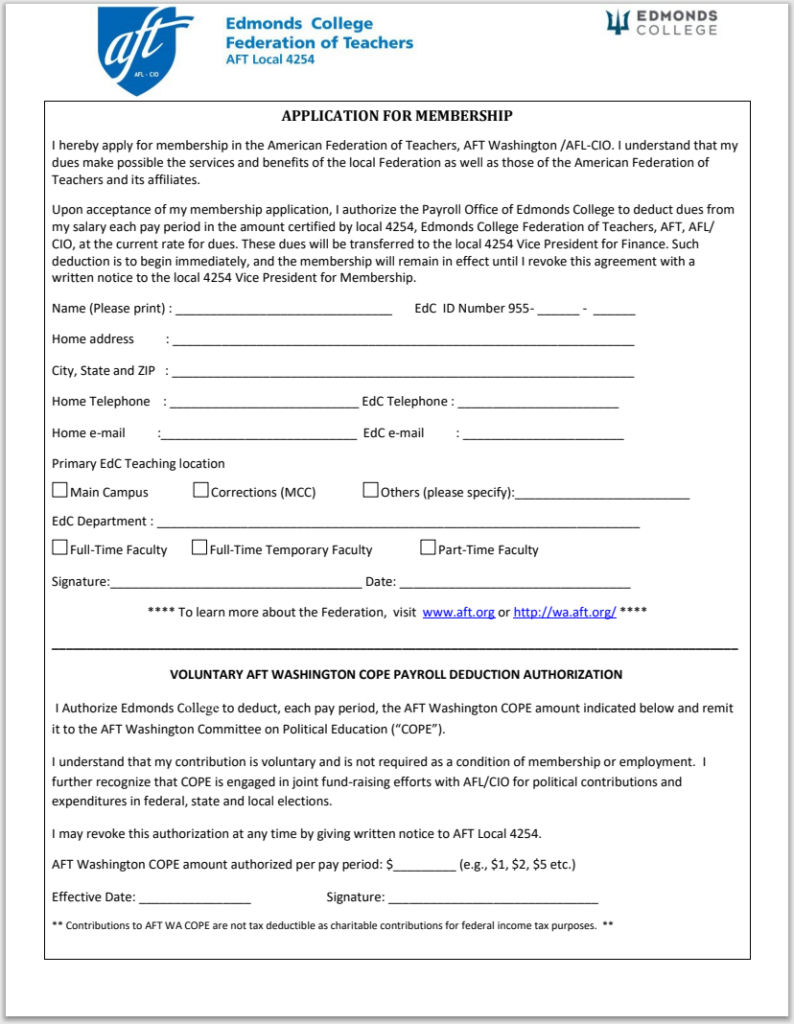 Picture of AFT Application document.