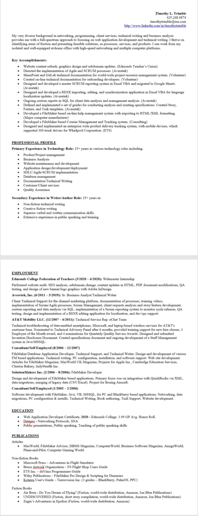 Picture of my old resume.
